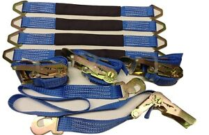 4 Axle Straps Car Hauler Trailer Auto Tie Down 4 Ratchet Straps Tow Kit Blue