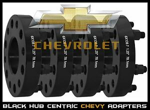 4 Pc Silverado 1500 Truck 1 25 Black Hub Centric Wheel Spacers Adapters 14x1 5