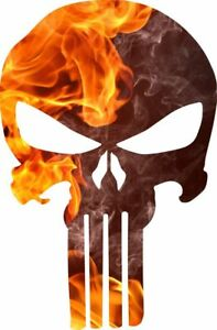 Punisher Skull Decal Fire Flame Punisher Decal Numerous Sizes Free Shipping