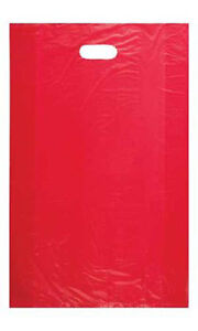 Count Of 1000 Large Red High density Plastic Merchandise Bag 15 X 4 X 24