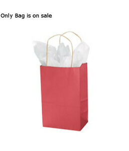 Count Of 100 New Retail Small Red Paper Shopping Bag 5 X 3 X 8