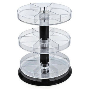 Three Tier Acrylic Counter Display With Dividers 11 Dia X 13 5 H