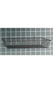New Retail Black Mini grid Wire Basket For Slatwall And Wire 24 X 12 X 4