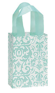 New 100 Small Aqua Blue Damask Frosted Plastic Shopping Bag 5 X 3 X 7