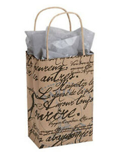 New 25 Small Paris French Script Paper Shopping Bag 5 x 3 X 8