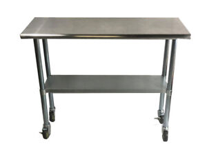 Stainless Steel Work Prep Table With 4 Casters wheels 30 X 72