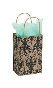 Count Of 100 Small Distressed Damask Paper Shopping Bag 5 x 3 X 8