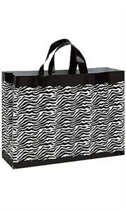 New 100 Bags Large Frosted Plastic Zebra Print Shopping Bags 16 X 6 X 12