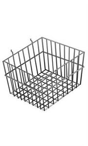 Lot Of 2 New Retails Black Finsihed Wire Slatwall Basket 12 X 12 X 8