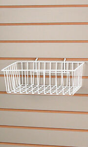 Lot Of 2 New Retails White Finished Wire Slatwall Basket 12 l X 8 w X 4 d
