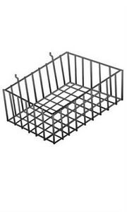 Count Of 2 New Retails Black Finished Small Wire Slatwall Basket 2 l X 8 w X 4 d