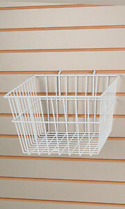 Count Of 2 Retails White Finished Wire Slatwall Basket 12 X 12 X 8