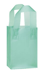 Count Of 100 Small Aqua Blue Frosted Plastic Shopping Bag 5 X 3 X 7