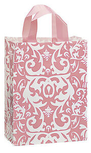 Count Of 100 Medium Pink Damask Frosted Plastic Shopping Bag 8 X 5 X 10