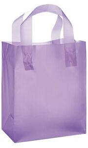 Count Of 100 Medium Lavender Frosted Plastic Shopping Bag 8 X 5 X 10