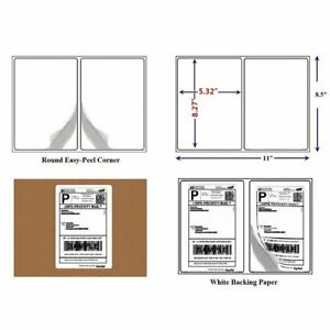 200 Round Corner 8 5x5 5 Shipping Labels Half Sheet Self Adhesive For Usps