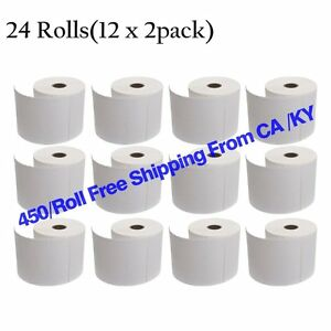 24 Rolls 450 roll Direct Thermal Shipping Labels 4x6 For Zebra Eltron 2844 Zp450
