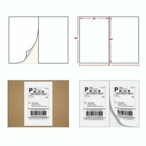 5000 Half Sheet Shipping Labels 8 5x5 5 Self Adhesive For Paypal Usps Postage