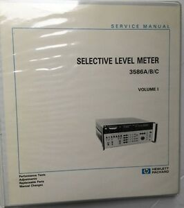 Hp 3586a b c Selective Level Meter Service Manual Volume 1 P n 03586 90002