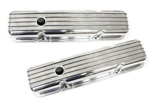 Finned Alumminum Valve Covers Sbc Small Block Chevy Short Pair Perimeter Bolt