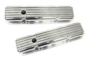Finned Sbc Small Block Chevy Valve Cover Tall Pair Perimeter Bolt Rat Rod Hot Gm