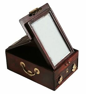 Antique Asian Solid Rosewood Dressing Box With Mirror