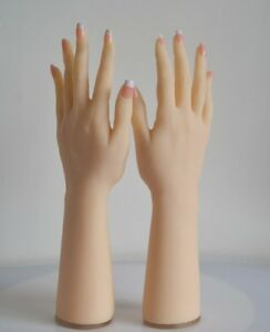 Lifesize Soft Silicone Hand Mannequin Posable Skeleton 4 Jewelry Glove Display