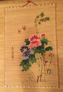 Large Woven Hand Painted Tapestry Bamboo Wall Hanging Asian Flowers Butterflies