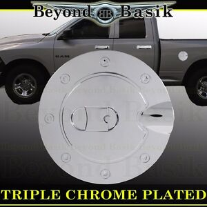 For 2009 2018 Dodge Ram 1500 Triple Abs Chrome Fuel Gas Door Cover Trim Overlay