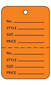 Pack Of 1000 New Large Orange Unstrung Coupon Price Tags 1 w X 2 h