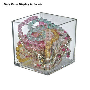 Count Of 4 New Retail Crystal Styrene 6 Cube Bin 6 w X 6 d X 6 h