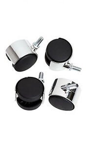 Count Of 10 Chrome Brakeless Twin Wheel Caster For Clothing Display Racks