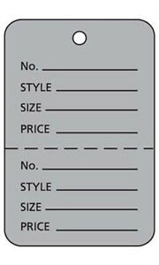 Box Of 1000 New Retails Large Grey Unstrung Coupon Price Tags 1 w X 2 h