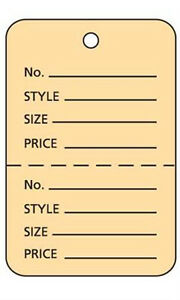 Pack Of 1000 New Retails Large Buff Unstrung Coupon Price Tags 1 w X 2 h