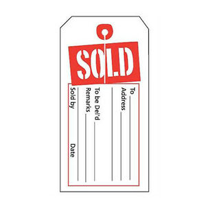 Box Of 1000 New Retails Red white Sold Tags With Slit 2 w X 4 h