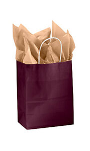 Count Of 100 Small Wineberry Glossy Paper Shopping Bags 5 X 3 X 8