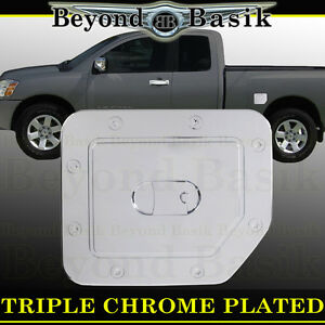 For 2004 2015 Nissan Titan Gas Door Cover Triple Chrome Tank Fuel Cap Overlay