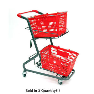 3 New Retail Shopping Cart Hand held Shopping Baskets Holds Upto 2 Baskets