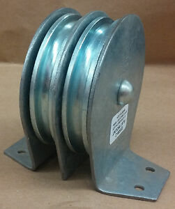 Sheave Pulley 3 1 2 Double Flat Mount Block max 5 16 Cable 1550 Lb Cap