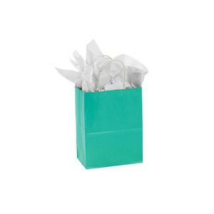 Count Of 25 Small Turquoise Paper Shopper Bag 5 X 3 X 8