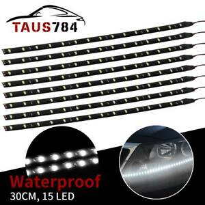 8x Flexible 30cm 12 Strip 7000k White Car Motorcycle 15 Led Lights Waterproof