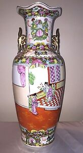 Antique Chinese Famille Rose Vase Late 1800 Early 1900 Exportware Large 24 Tall