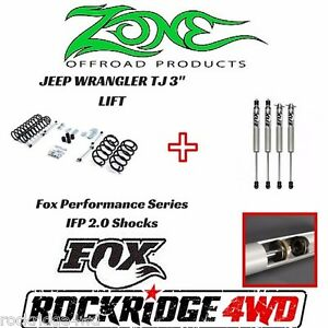 Zone Offroad 3 Jeep Wrangler Tj Lj 97 02 Suspension Lift Kit W Fox Performance