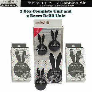 Rabbico Air Car Vent Clips Air Freshener White Musk Scent 2 Boxes Refill Unit