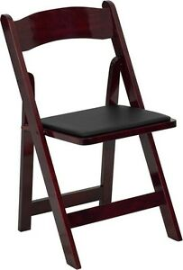 100 Pack Mahogany Wood Folding Chair With Black Vinyl Padded Seat wedding Chair