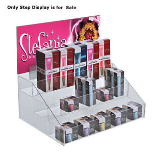 Retail Clear Acrylic Three tier Counter Step Display 16 w X 11 75 d X 7 125 h