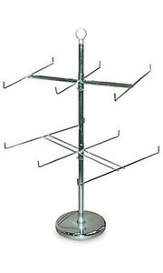New Silver 2 Rotating Tiers Spinner Rack With 6 Long Pegs 26 Dia X 25 H