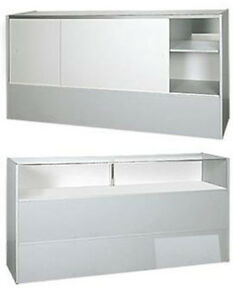 New Retails Gray Jewelry Display Showcase With White Slides Rear Doors 70 Inch