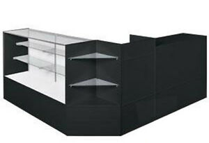 New Retails Black Finish Display Case Full Vision Arrangement Set 70 L