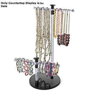 Retail 19 h Clear Acrylic 2 tiered Bracelet necklace Countertop Display Bar